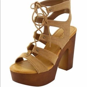 BAMBOO Shoes - Open toe block heels